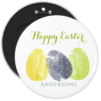 CUTE COLOURFUL WATERCOLOR EASTER EGGS MONOGRAM PINBACK BUTTON