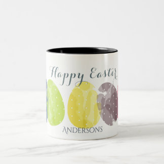 CUTE COLOURFUL WATERCOLOR EASTER EGGS MONOGRAM Two-Tone COFFEE MUG