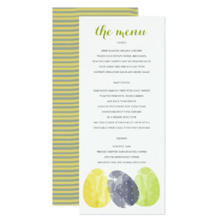 CUTE COLOURFUL WATERCOLOUR EASTER EGGS MENU CARD