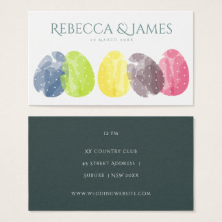 CUTE COLOURFUL WATERCOLOUR EASTER EGGS Wedding Business Card