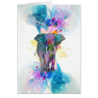 cute colourful watercolours splatters elephant card
