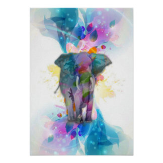 cute colourful watercolours splatters elephant poster