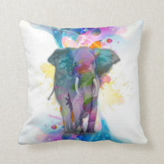 cute colourful watercolours splatters elephant throw pillow