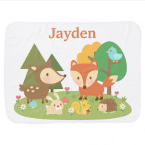 Cute Colourful Woodland Animal For Babies Baby Blanket