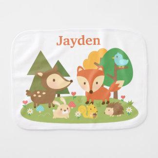 Cute Colourful Woodland Animal For Babies Burp Cloth