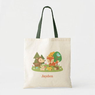 Cute Colourful Woodland Animal For Kids Budget Tote Bag