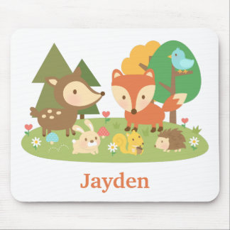 Cute Colourful Woodland Animal For Kids Mouse Pad