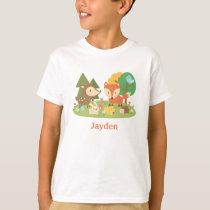 Cute Colourful Woodland Animal For Kids T-Shirt