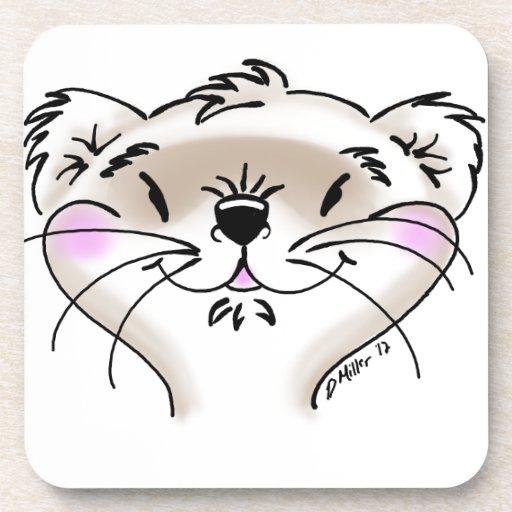 Cute Comic Ferret Face Coaster