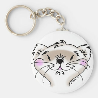 Cute Comic Ferret Face Basic Round Button Keychain