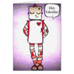 Cute Comic Style Robot Valentine's Day Card