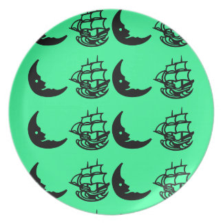 Cute comical ship and moon  green plate
