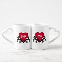 Cute commemorative Valentines Day red heart Coffee Mug Set