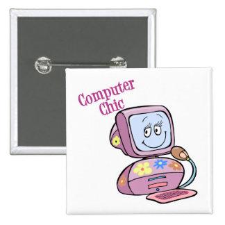 Cute Computer Chic Design Button