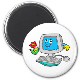 Cute computer with flower magnets