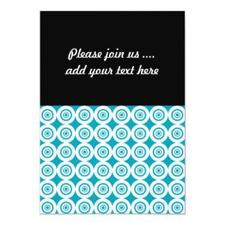 Cute Concentric Circles Pattern Aqua White Card
