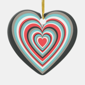 Cute Concentric Hearts Double-Sided Heart Ceramic Christmas Ornament