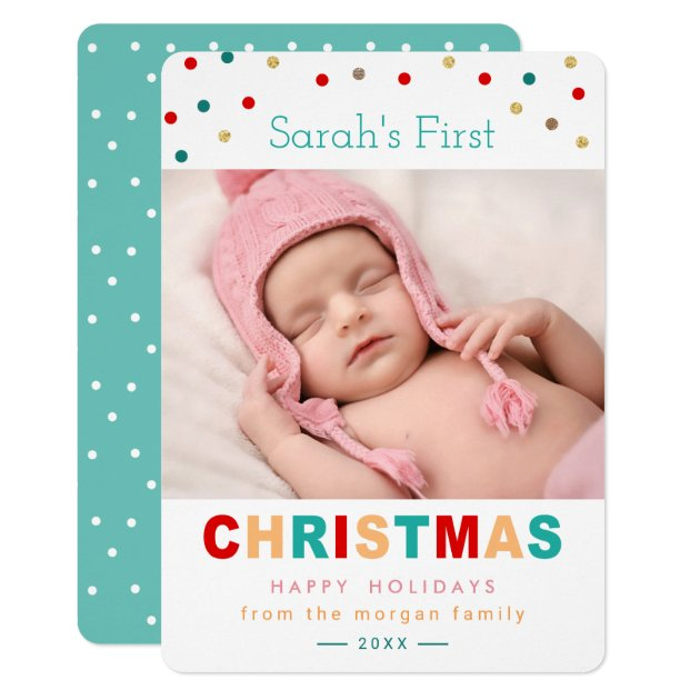 Cute Confetti Dots Baby's First Christmas Photo Card