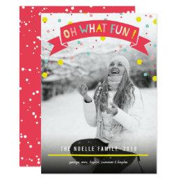 Cute Confetti Dots Oh What Fun Holiday Photo Card