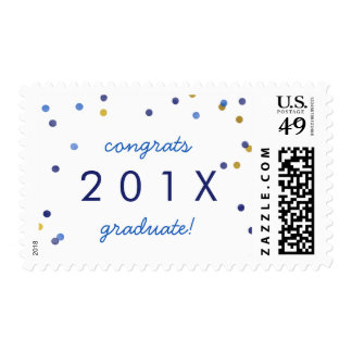 Cute Confetti Graduation Announcement Stamps