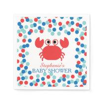 Cute Confetti Nautical Crab Baby Shower Napkin