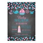 Cute Confetti Nautical Girl Baby Shower Invitation