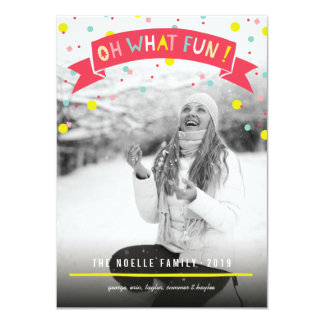 Cute Confetti Oh What Fun Holiday Photo Greetings 4.5x6.25 Paper Invitation Card
