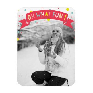 Cute Confetti Oh What Fun Holiday Photo Magnet
