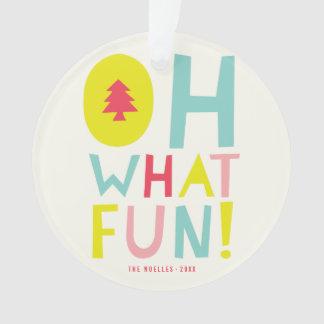 Cute Confetti Oh What Fun Holiday Photo Ornament