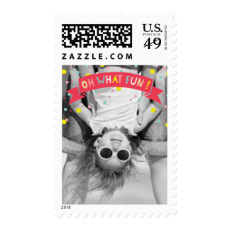 Cute Confetti Oh What Fun Holiday Photo Stamps