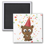 Cute Confetti Party Beaver 2 Inch Square Magnet
