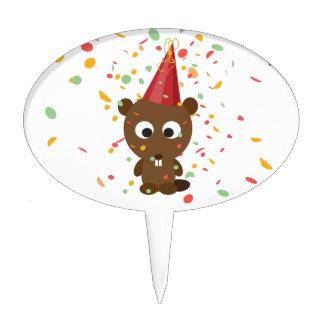 Cute Confetti Party Beaver Cake Topper