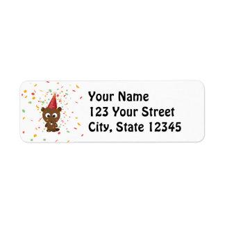 Cute Confetti Party Beaver Label