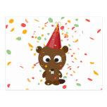 Cute Confetti Party Beaver Postcard