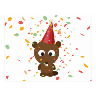 Cute Confetti Party Beaver Postcard