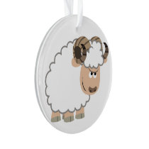 Cute Confident Cartoon Ram Ornament