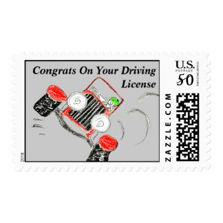 "Cute ""Congrats On Your Driving License"" Stamp"