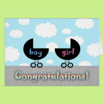 Cute Congratulations Twins Boy and Girl Card
