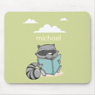 Cute congregation raccoon reading to book. Green m Mouse Pad