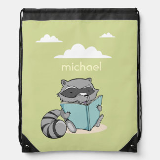 Cute congregation raccoon reading to book. Strings Drawstring Bag