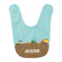 Cute Construction Vehicles For Baby Boys Baby Bib
