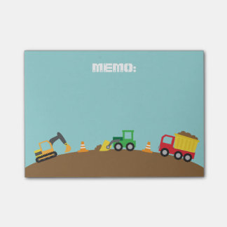Cute Construction Vehicles For Boys Post-it® Notes
