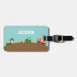 Cute Construction Vehicles For Boys Travel Bag Tag