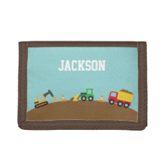 Cute Construction Vehicles For Boys Tri-fold Wallets at Zazzle
