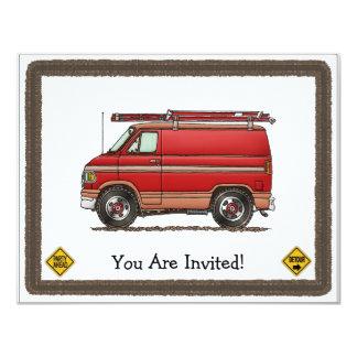 Cute Contractor Van 4.25x5.5 Paper Invitation Card