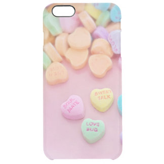 Cute conversation heart hearts candy pastel foodie clear iPhone 6 plus case