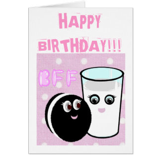 CUTE COOKIE AND MILK BFF GREETING CARDS