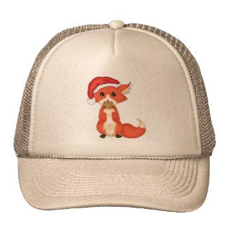 Cute Cookie Fox Wearing A Santa Hat