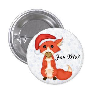 Cute Cookie Fox Wearing A Santa Hat Pinback Buttons