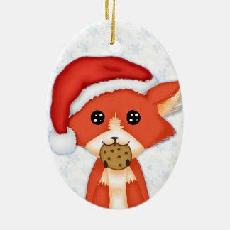 Cute Cookie Fox Wearing A Santa Hat Ceramic Ornament